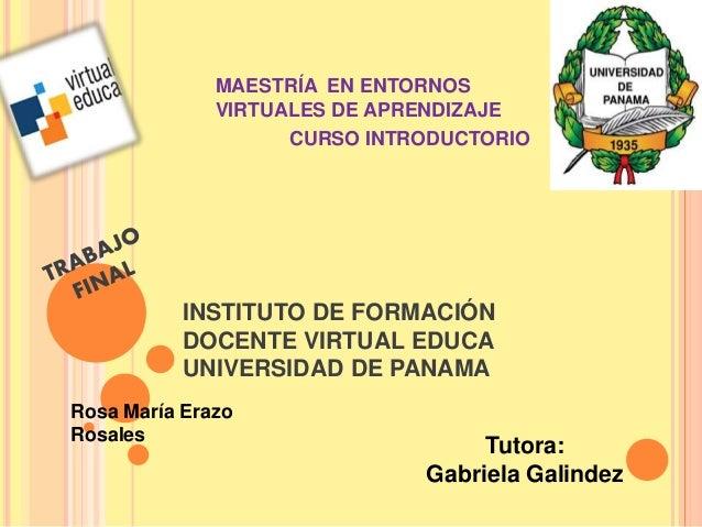 MAESTRÍA EN ENTORNOS  VIRTUALES DE APRENDIZAJE  CURSO INTRODUCTORIO  INSTITUTO DE FORMACIÓN  DOCENTE VIRTUAL EDUCA  UNIVER...