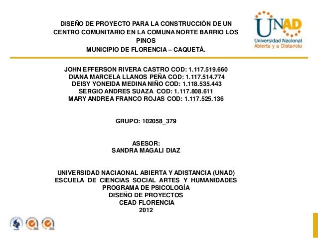 DISEÑO DE PROYECTO PARA LA CONSTRUCCIÓN DE UNCENTRO COMUNITARIO EN LA COMUNA NORTE BARRIO LOS                      PINOS  ...