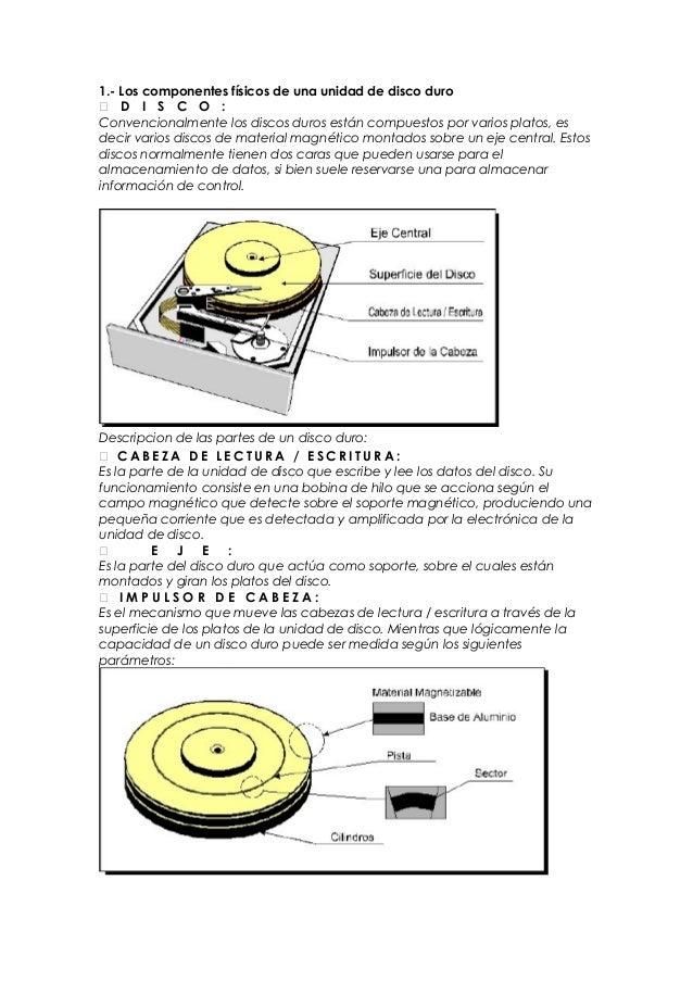 1.- Los componentes físicos de una unidad de disco duro D I S C O :Convencionalmente los discos duros están compuestos po...