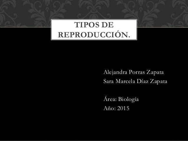 Alejandra Porras Zapata Sara Marcela Díaz Zapata Área: Biología Año: 2015 TIPOS DE REPRODUCCIÓN.