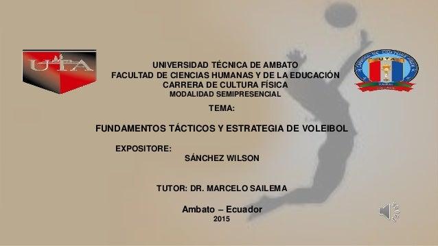 TEMA: FUNDAMENTOS TÁCTICOS Y ESTRATEGIA DE VOLEIBOL EXPOSITORE: SÁNCHEZ WILSON TUTOR: DR. MARCELO SAILEMA Ambato – Ecuador...