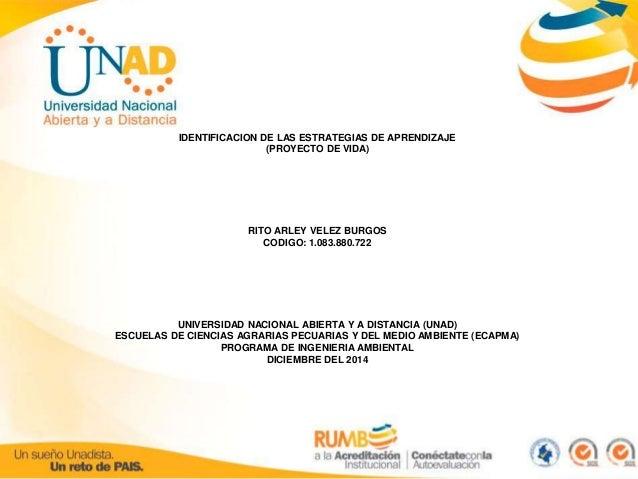IDENTIFICACION DE LAS ESTRATEGIAS DE APRENDIZAJE  (PROYECTO DE VIDA)  RITO ARLEY VELEZ BURGOS  CODIGO: 1.083.880.722  UNIV...