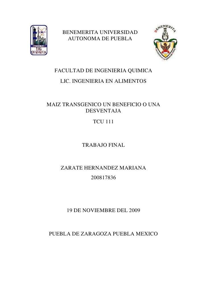 BENEMERITA UNIVERSIDAD AUTONOrighttopMA DE PUEBLA lefttop<br />FACULTAD DE INGENIERIA QUIMICA<br />LIC. INGENIERIA EN ALIM...