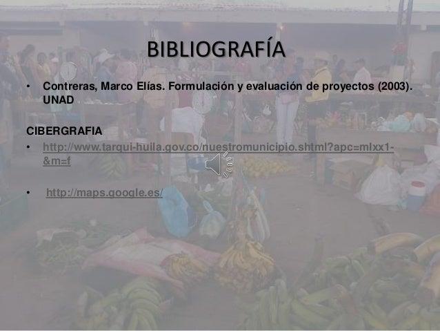BIBLIOGRAFÍA• Contreras, Marco Elías. Formulación y evaluación de proyectos (2003).UNADCIBERGRAFIA• http://www.tarqui-huil...