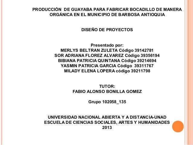 PRODUCCIÓN DE GUAYABA PARA FABRICAR BOCADILLO DE MANERA ORGÁNICA EN EL MUNICIPIO DE BARBOSA ANTIOQUIA DISEÑO DE PROYECTOS ...