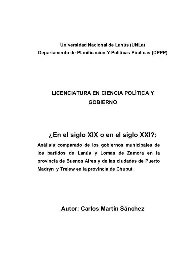 Universidad Nacional de Lanús (UNLa)Departamento de Planificación Y Políticas Públicas (DPPP)      LICENCIATURA EN CIENCIA...