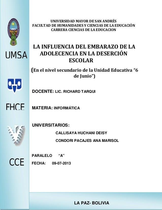 LA PAZ- BOLIVIA UNIVERSIDAD MAYOR DE SAN ANDRÉS FACULTAD DE HUMANIDADES Y CIENCIAS DE LA EDUCACIÓN CARRERA CIENCIAS DE LA ...
