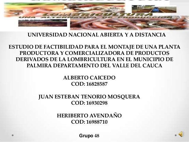 UNIVERSIDAD NACIONAL ABIERTA Y A DISTANCIAESTUDIO DE FACTIBILIDAD PARA EL MONTAJE DE UNA PLANTA   PRODUCTORA Y COMERCIALIZ...