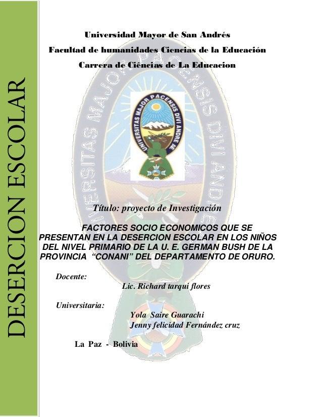 Universidad Mayor de San Andrés Facultad de humanidades Ciencias de la Educación Carrera de Ciências de La Educacion Títul...