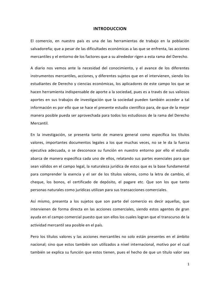 INTRODUCCIONEl comercio, en nuestro país es una de las herramientas de trabajo en la poblaciónsalvadoreña; que a pesar de ...
