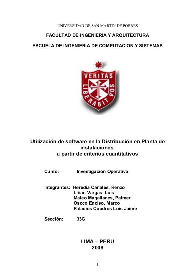 UNIVERSIDAD DE SAN MARTIN DE PORRES FACULTAD DE INGENIERIA Y ARQUITECTURA ESCUELA DE INGENIERIA DE COMPUTACION Y SISTEMAS ...