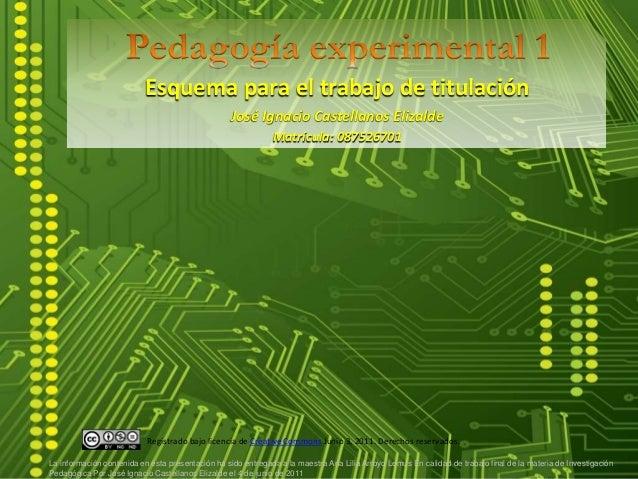 Esquema para el trabajo de titulación José Ignacio Castellanos Elizalde Matrícula: 087526701 La información contenida en é...