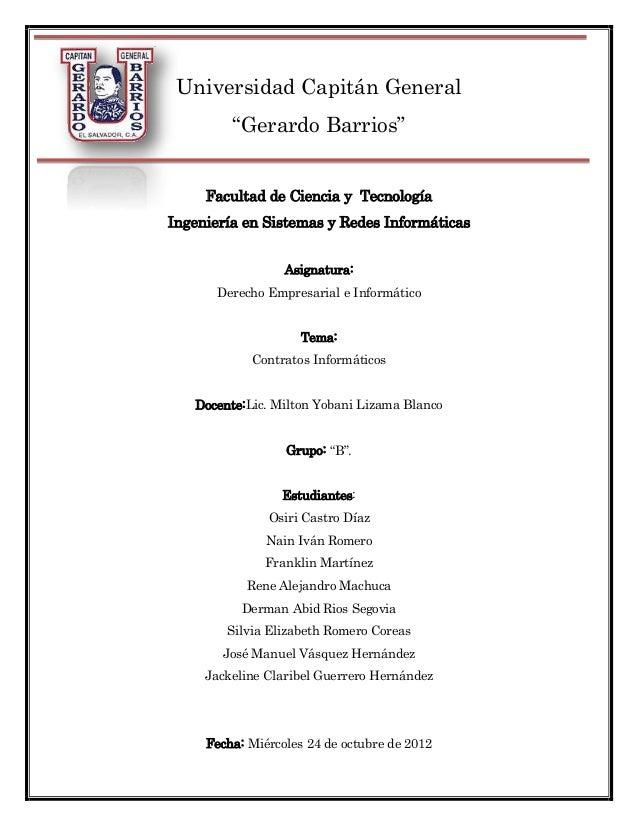 """Universidad Capitán General         """"Gerardo Barrios""""     Facultad de Ciencia y TecnologíaIngeniería en Sistemas y Redes I..."""