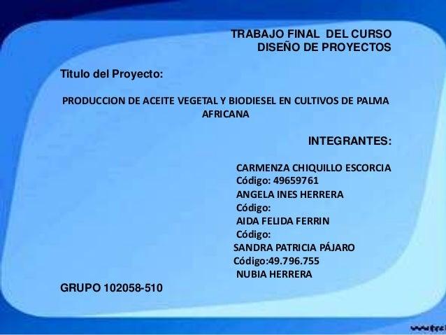 TRABAJO FINAL DEL CURSO DISEÑO DE PROYECTOS Titulo del Proyecto: PRODUCCION DE ACEITE VEGETAL Y BIODIESEL EN CULTIVOS DE P...