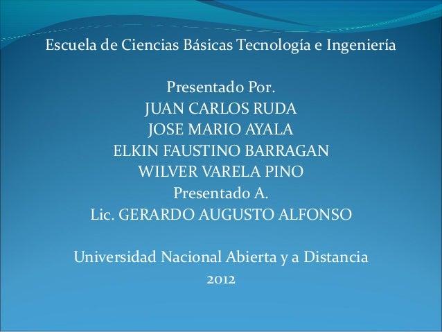 Escuela de Ciencias Básicas Tecnología e Ingeniería                 Presentado Por.              JUAN CARLOS RUDA         ...