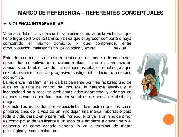 MARCO DE REFERENCIA – REFERENTES CONCEPTUALES VIOLENCIA INTRAFAMILIARVamos a definir la violencia Intrafamiliar como aque...