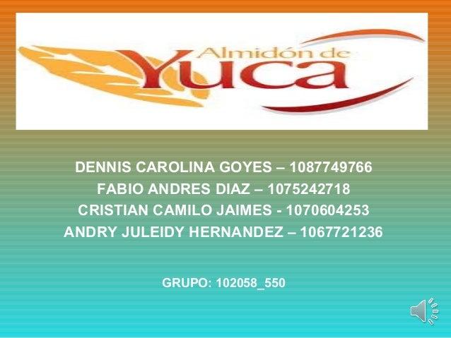DENNIS CAROLINA GOYES – 1087749766FABIO ANDRES DIAZ – 1075242718CRISTIAN CAMILO JAIMES - 1070604253ANDRY JULEIDY HERNANDEZ...