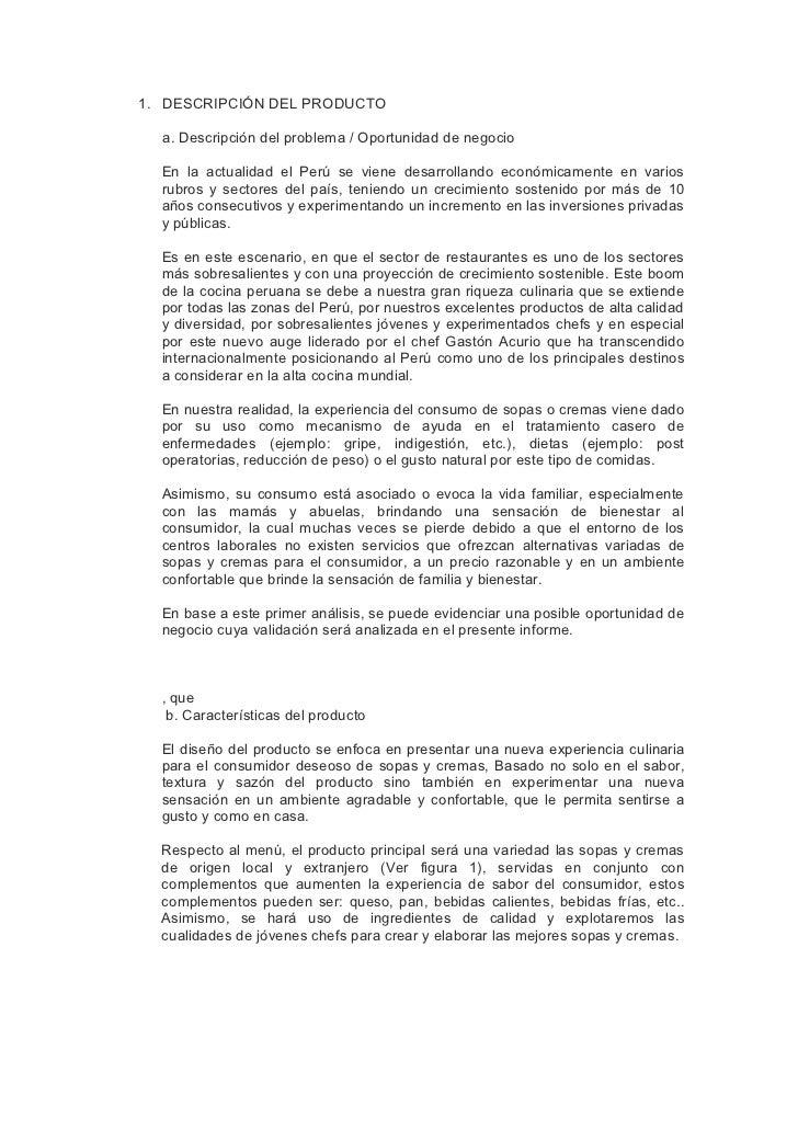1. DESCRIPCIÓN DEL PRODUCTO  a. Descripción del problema / Oportunidad de negocio  En la actualidad el Perú se viene desar...
