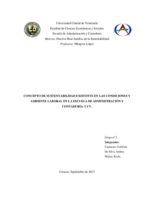 Universidad Central de Venezuela Facultad de Ciencias Económicas y Sociales Escuela de Administración y Contaduría Materia...