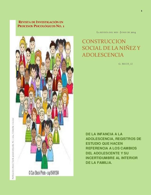 1 REVISTA DE INVESTIGACIÓN EN PROCESOS PSICOLÓGICOS NO. 1 LA REVISTA DEL MES - JUNIO DE 2014 CONSTRUCCION SOCIAL DE LA NIÑ...