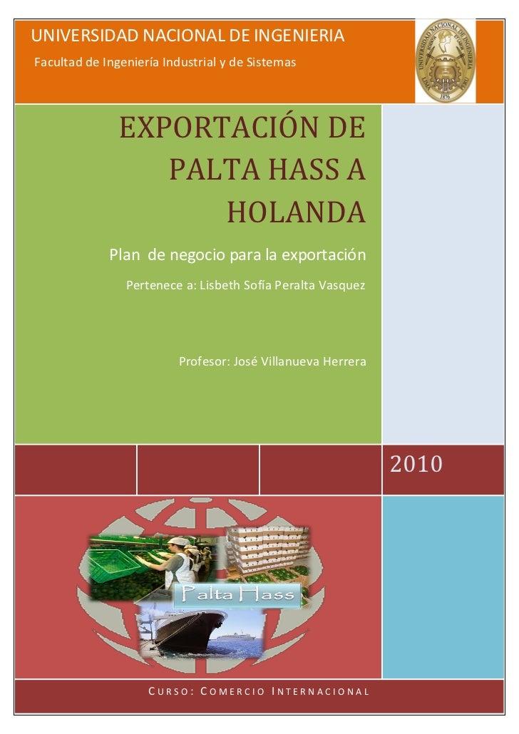 UNIVERSIDAD NACIONAL DE INGENIERIA Facultad de Ingeniería Industrial y de Sistemas                    EXPORTACIÓN DE      ...