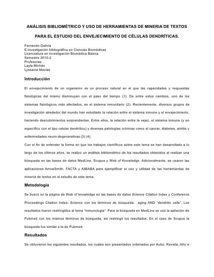 ANÁLISIS BIBLIOMÉTRICO Y USO DE HERRAMIENTAS DE MINERIA DE TEXTOS        PARA EL ESTUDIO DEL ENVEJECIMIENTO DE CÉLULAS DEN...