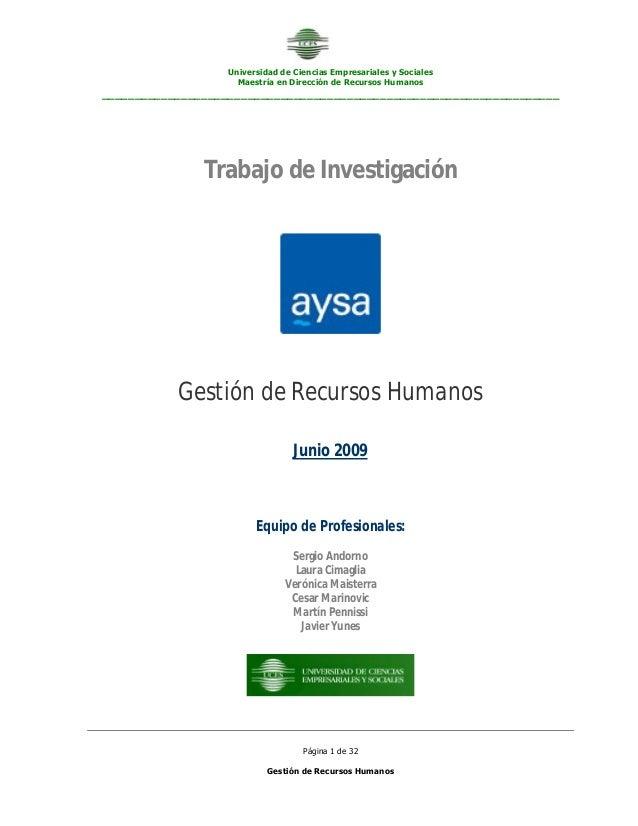 Universidad de Ciencias Empresariales y Sociales Maestría en Dirección de Recursos Humanos _______________________________...