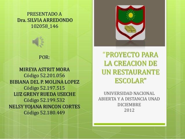 """PRESENTADO A   Dra. SILVIA ARREDONDO         102058_146           POR:                """"PROYECTO PARA                      ..."""