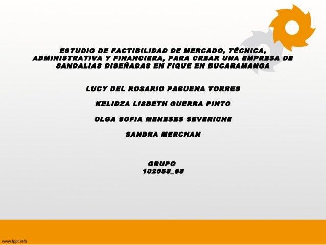 ESTUDIO DE FACTIBILIDAD DE MERCADO, TÉCNICA,ADMINISTRATIVA Y FINANCIERA, PARA CREAR UNA EMPRESA DE    SANDALIAS DISEÑADAS ...