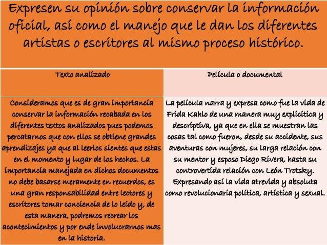 Expresen su opinión sobre conservar la información oficial, así como el manejo que le dan los diferentes artistas o escrit...