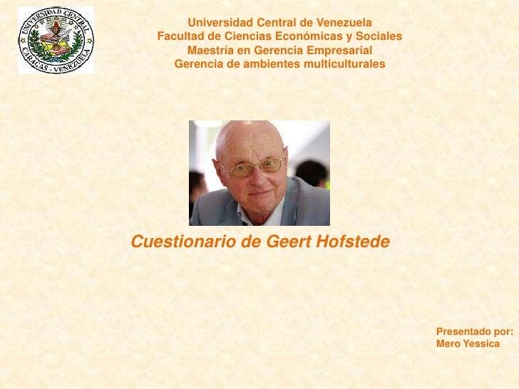 Universidad Central de Venezuela   Facultad de Ciencias Económicas y Sociales        Maestría en Gerencia Empresarial     ...