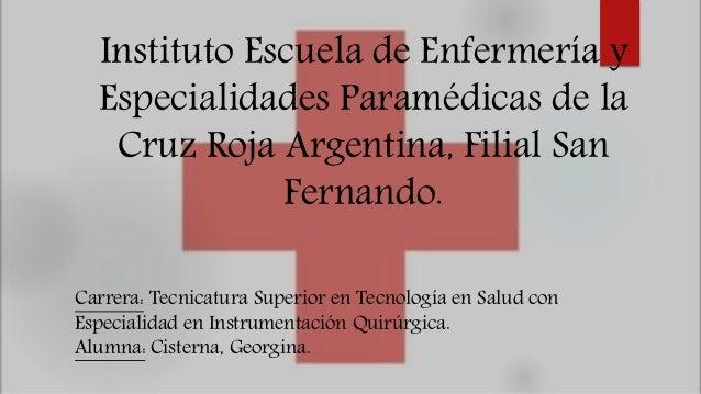 Instituto Escuela de Enfermería y Especialidades Paramédicas de la Cruz Roja Argentina, Filial San Fernando. Carrera: Tecn...