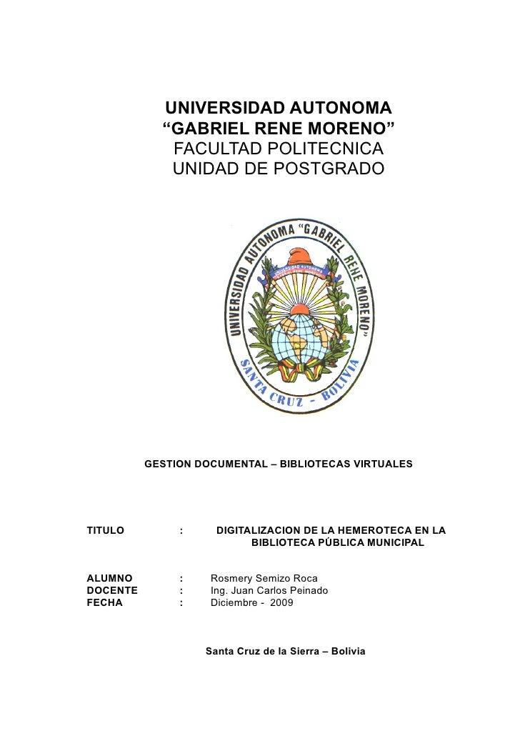 """UNIVERSIDAD AUTONOMA             """"GABRIEL RENE MORENO""""              FACULTAD POLITECNICA              UNIDAD DE POSTGRADO ..."""