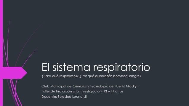 El sistema respiratorio ¿Para qué respiramos? ¿Por qué el corazón bombea sangre?  Club Municipal de Ciencias y Tecnología ...