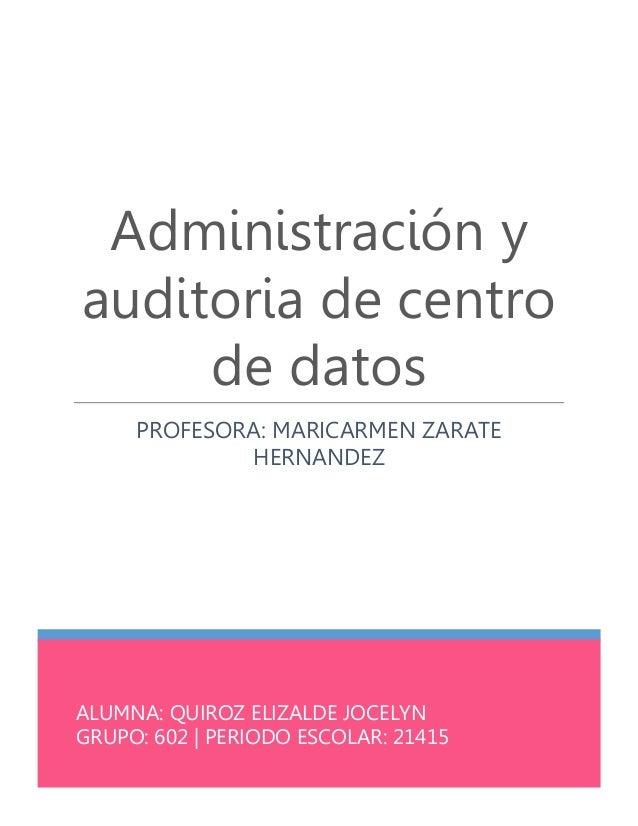 ALUMNA: QUIROZ ELIZALDE JOCELYN GRUPO: 602 | PERIODO ESCOLAR: 21415 Administración y auditoria de centro de datos PROFESOR...