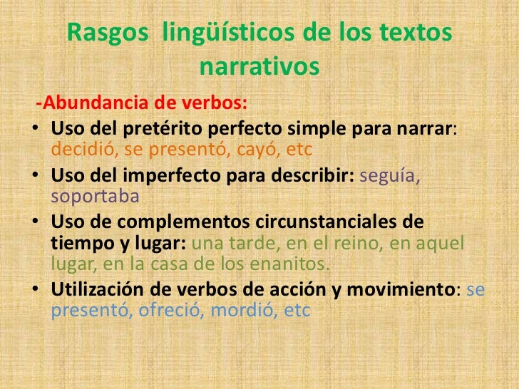 Resultado de imagen de rasgos lingüísticos narración