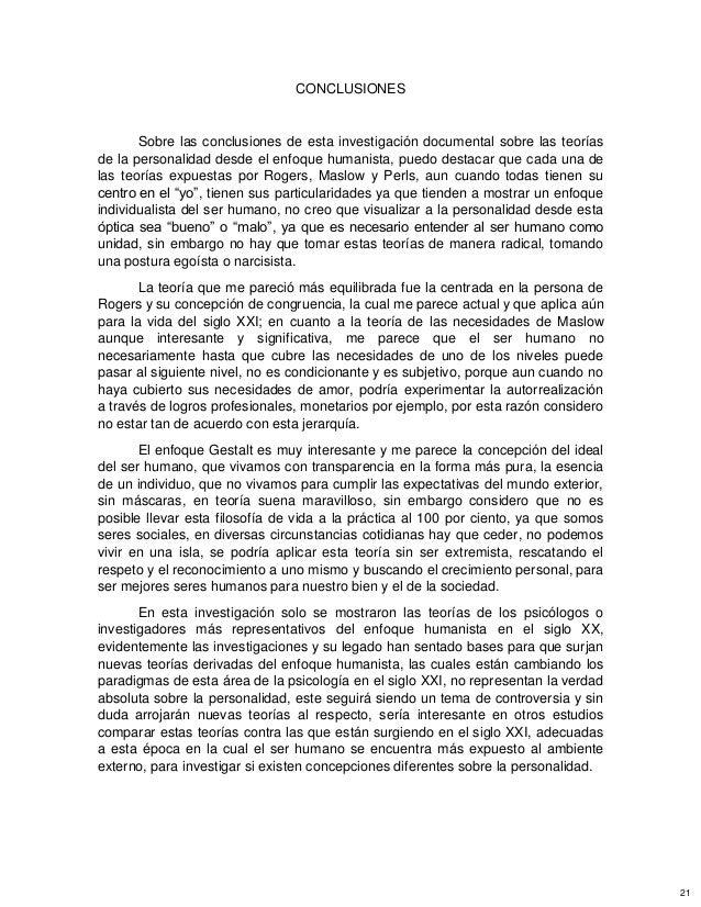 CONCLUSIONES Sobre las conclusiones de esta investigación documental sobre las teorías de la personalidad desde el enfoque...