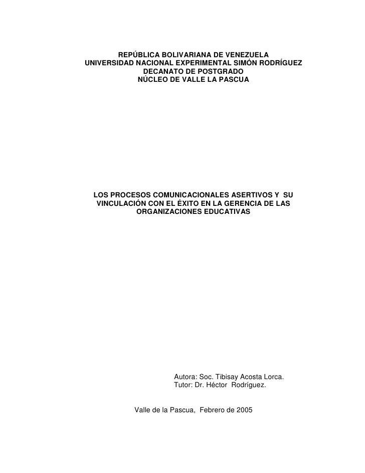 REPÚBLICA BOLIVARIANA DE VENEZUELAUNIVERSIDAD NACIONAL EXPERIMENTAL SIMÓN RODRÍGUEZ             DECANATO DE POSTGRADO     ...