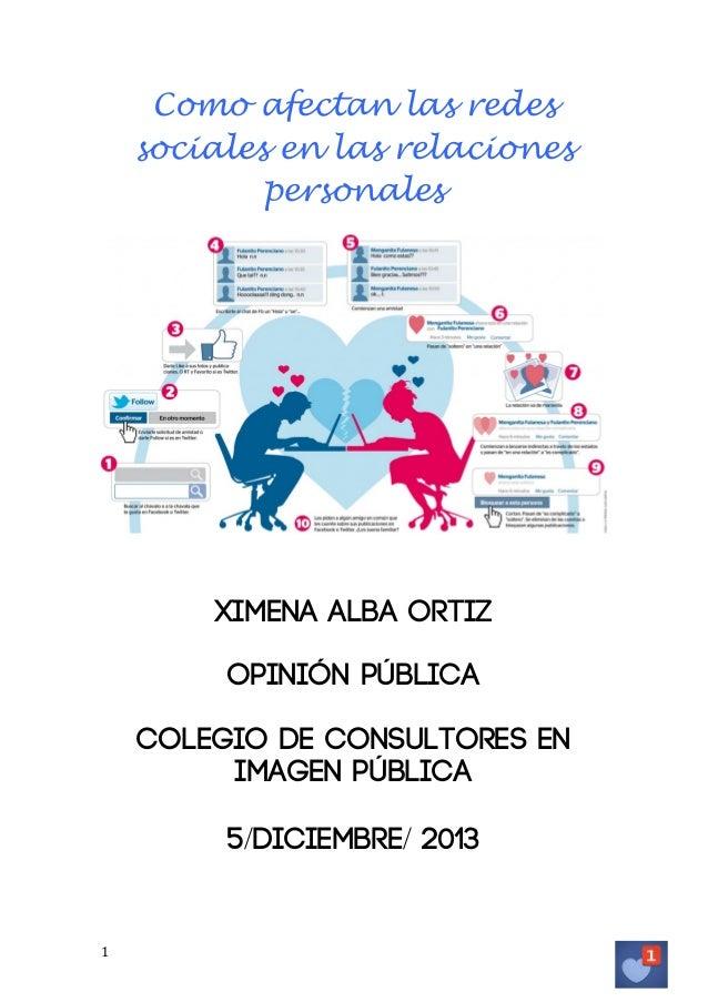 Como afectan las redes sociales en las relaciones personales  Ximena Alba Ortiz Opinión pública Colegio de consultores en ...