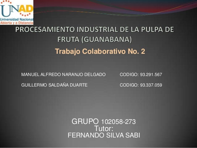 Trabajo Colaborativo No. 2MANUEL ALFREDO NARANJO DELGADO   CODIGO: 93.291.567GUILLERMO SALDAÑA DUARTE         CODIGO: 93.3...