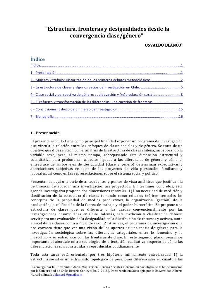 """""""Estructura, fronteras y desigualdades desde la                       convergencia clase/género""""                          ..."""