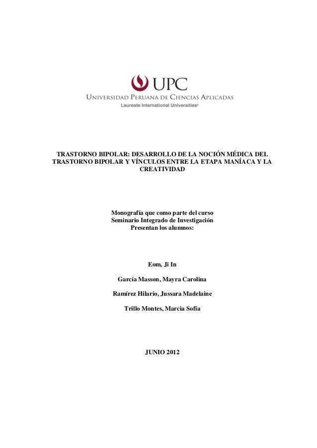TRASTORNO BIPOLAR: DESARROLLO DE LA NOCIÓN MÉDICA DELTRASTORNO BIPOLAR Y VÍNCULOS ENTRE LA ETAPA MANÍACA Y LA             ...