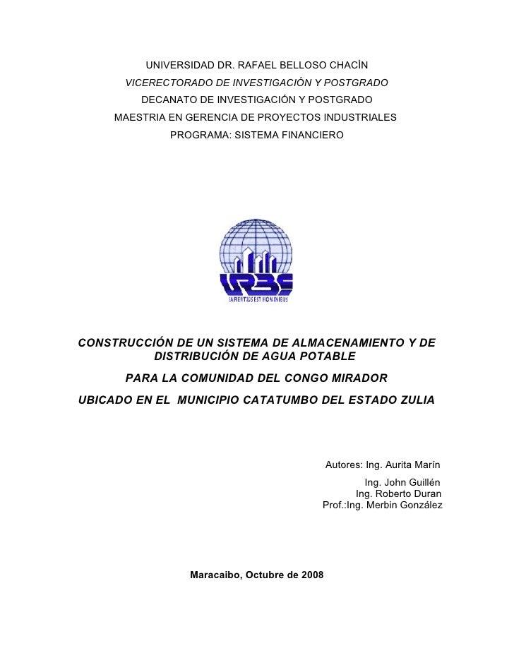 UNIVERSIDAD DR. RAFAEL BELLOSO CHACÍN       VICERECTORADO DE INVESTIGACIÓN Y POSTGRADO          DECANATO DE INVESTIGACIÓN ...