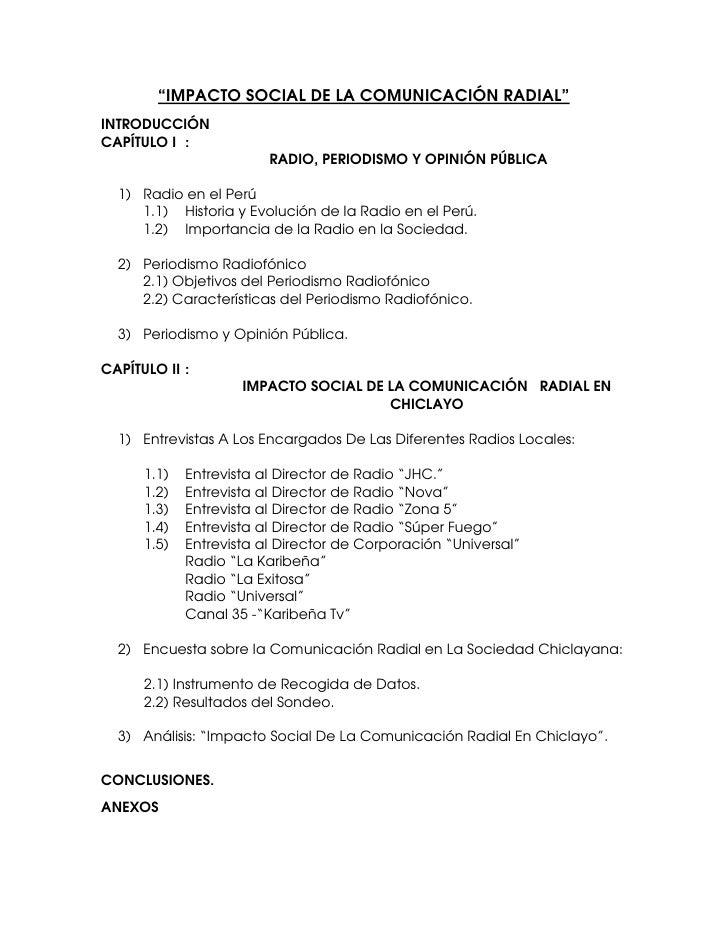 """""""IMPACTO SOCIAL DE LA COMUNICACIÓN RADIAL"""" INTRODUCCIÓN CAPÍTULO I :                          RADIO, PERIODISMO Y OPINIÓN ..."""