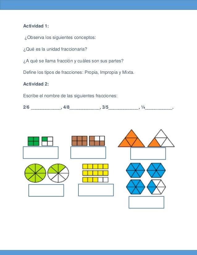 Actividad 1: ¿Observa los siguientes conceptos: ¿Qué es la unidad fraccionaria? ¿A qué se llama fracción y cuáles son sus ...