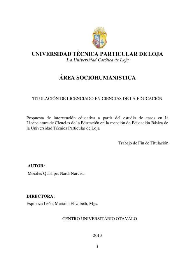 i UNIVERSIDAD TÉCNICA PARTICULAR DE LOJA La Universidad Católica de Loja ÁREA SOCIOHUMANISTICA TITULACIÓN DE LICENCIADO EN...