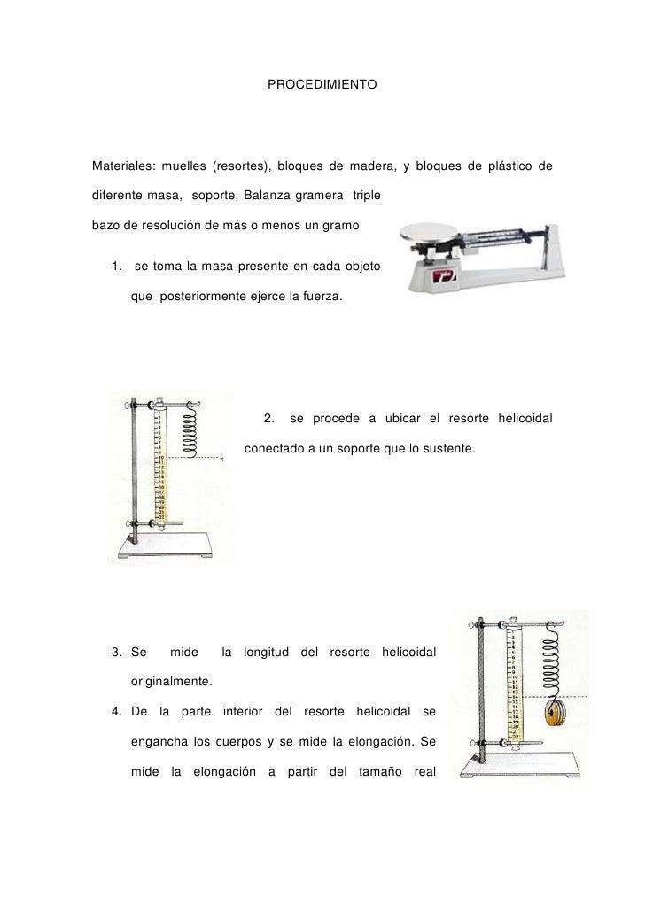 PROCEDIMIENTOMateriales: muelles (resortes), bloques de madera, y bloques de plástico dediferente masa, soporte, Balanza g...