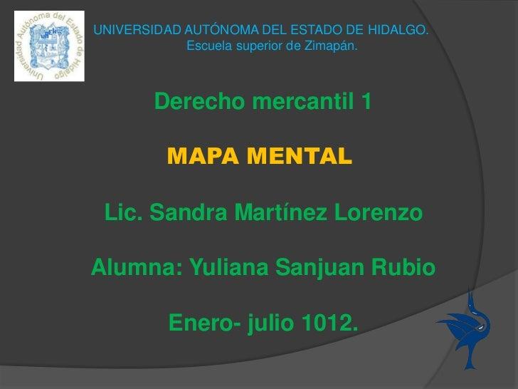 UNIVERSIDAD AUTÓNOMA DEL ESTADO DE HIDALGO.            Escuela superior de Zimapán.       Derecho mercantil 1         MAPA...