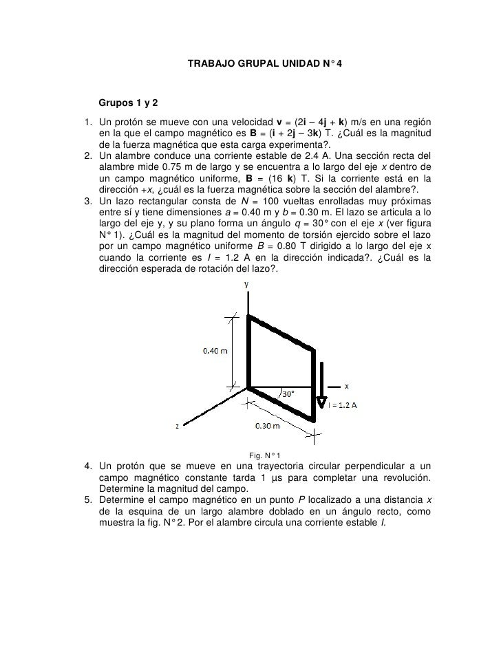TRABAJO GRUPAL UNIDAD N° 4   Grupos 1 y 21. Un protón se mueve con una velocidad v = (2i – 4j + k) m/s en una región   en ...
