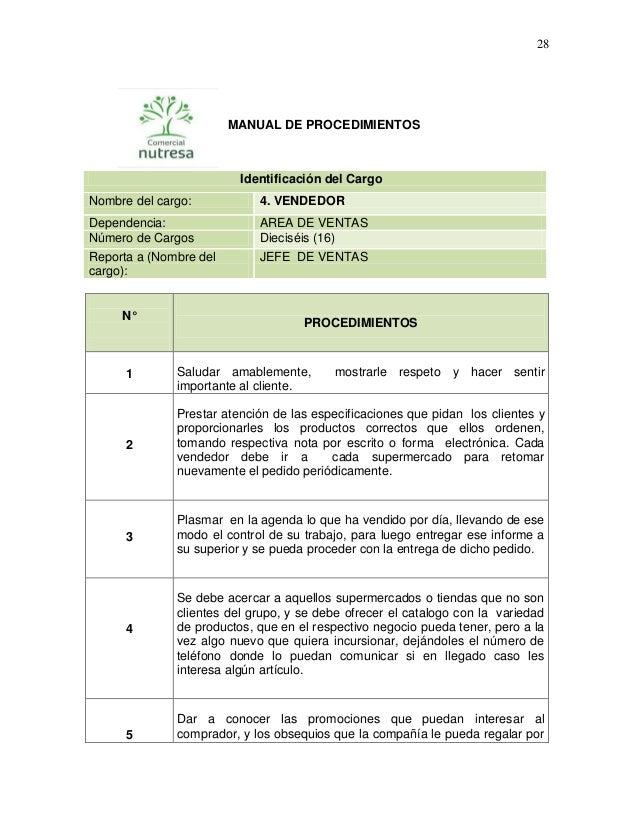 28  MANUAL DE PROCEDIMIENTOS  Identificación del Cargo Nombre del cargo:  4. VENDEDOR  Dependencia: Número de Cargos Repor...